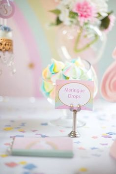 Meringue drops from a Floral Rainbow Glam Unicorn Birthday Party on Kara's Party Ideas | KarasPartyIdeas.com (15)