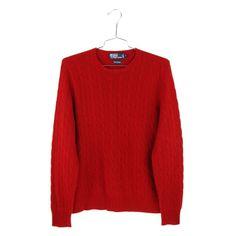 6ca501d89 Polo Ralph Lauren Cashmere Sweater Medium Mens Size M Red Cable Knit  Crewneck  PoloRalphLauren