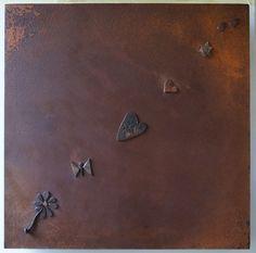"""""""Ricordare sempre anche Terezin"""" # 3 (da disegni e graffiti di bambini uccisi) Quadrato-Rombo vergine. Collage, 2013. cm 50 x 50(sagittale cm 71 x 71)."""