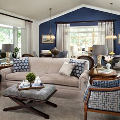 Brown and Blue Living Room Color Schemes Inspirational Blue Gray Color Scheme for Living Room Best Blue Gray Paint Color Blue Accent Walls, Accent Walls In Living Room, Living Room Color Schemes, Living Room Colors, Living Room Paint, Living Room Designs, Blue Accents, Blue Walls, Neutral Walls