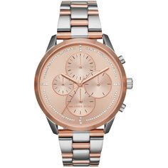 Michael Kors Watch - Slater Jetset Watch Silver/Rosegold - in rose,... (4 675 ZAR) ❤ liked on Polyvore featuring jewelry, watches, rose gold jewelry, rose gold wrist watch, dial watches, pink gold watches and michael kors jewelry