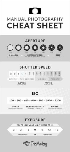 The Ultimate Photography Cheat Sheet - Nikon - Trending Nikon for sales. - Your ultimate photography cheat sheet guide. Complete with info about aperture and how it relates to depth of field shutter speed ISO and exposure. All the essentials. Photography Cheat Sheets, Photography Basics, Photography Lessons, Photography Camera, Photography Tutorials, Photography Business, Digital Photography, Art Photography, Photography Settings