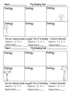 "This handout is a way for students to list strategies that will help them reach a reading goal they are working on. It gives them a place to self reflect as well as a place for the teacher to check how they are doing and initial. This page goes in conjunction with my blog post on Jennifer Serravallo's book ""The Reading Strategies Book""."