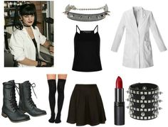 "A Very Geek Chic Halloween: 10 More Geeky DIY Costume Ideas - College Fashion If cutesy costumes aren't for you and you happen to be a fan of NCIS, why not dress up as Abby Sciuto, the awesome forensic specialist and ""the happiest goth you'll ever meet""? Geeky Halloween Costumes, Nerd Costumes, 50s Costume, Chic Halloween, Hippie Costume, Diy Costumes, Costume Ideas, Vampire Costumes, Halloween Ideas"