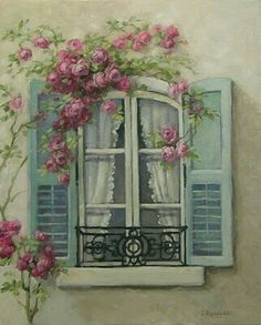 Chateau De Fleurs: My Love of French Windows Inspired a New Romantic Rose Painting! So gorgeous! French Windows, Decoupage Paper, Beautiful Paintings, Painting Inspiration, Painting & Drawing, Vintage Art, Vintage Paintings, Vintage Style, Watercolor Paintings