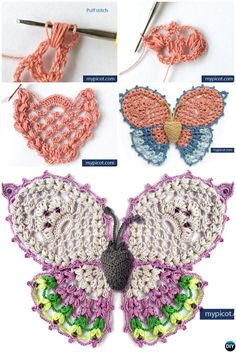 Crochet Flowers Design Picot Crochet Puff Stitch Butterfly Free Pattern - 20 Crochet Butterfly Free Patterns:Attach butterfly applique onto fashion, make butterflies as Mobile nursery or chandelier, or crochet butterfly rugs. Picot Crochet, Irish Crochet, Crochet Motif, Hand Crochet, Crochet Stitches, Crochet Hooks, Beginner Crochet, Crochet Butterfly Free Pattern, Crochet Puff Flower