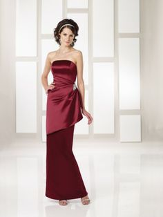 Satin Strapless side Gathered Bodice Sheath Ankle-length Wedding Party Dress