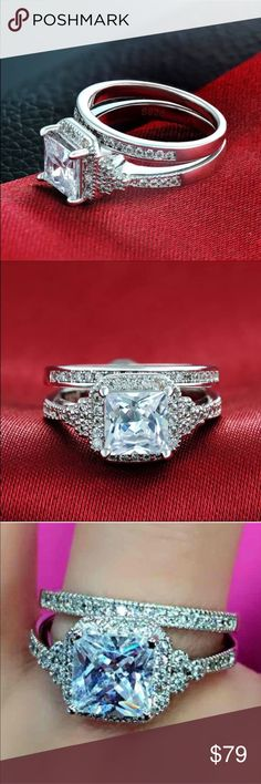 New 18 k white gold wedding ring set Brand new 18 k white gold filled with lab created diamonds engagement wedding ring set. Also have wedding ring sets, engagement rings , wedding band in my listing for sale. Available in all sizes. Swarovski Jewelry Rings