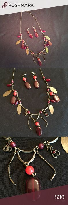 """Necklace and Earring Set Necklace and Earring Set • red, maroon and gold beads and leaf charms • matching set • 14"""" long • excellent condition Jewelry Necklaces"""