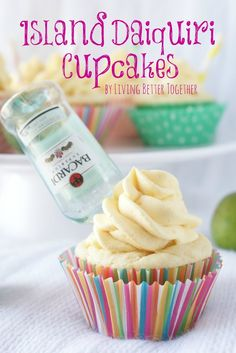 These Island Daiquiri Cupcakes are coconut and rum cupcakes filled with a silky key lime curd and topped with a creamy mango frosting. Rum Cupcakes, Drunken Cupcakes, Alcoholic Cupcakes, Love Cupcakes, Cupcake Cakes, Summer Cupcakes, Liquor Cupcakes, Alcoholic Desserts, Liquor Cake