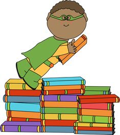 Superhero flying with a book from MyCuteGraphics
