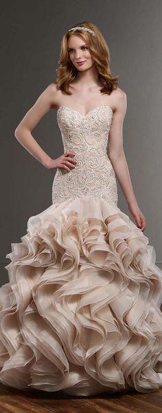48 best Ruffled Wedding Dresses images on Pinterest | Alon livne ...