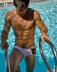 Athletic muscular dude bathing with stud 8