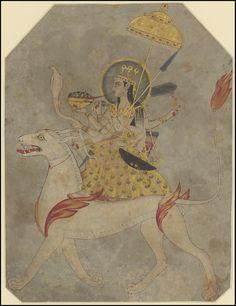 Album of Indian/Mughal portraits and mythological scenes (?) The Hindu Goddess, Durga Aurangzeb , Mughal Emperor . Indian Gods, Indian Art, Shiva, Krishna, Art Antique, Durga Goddess, Hindu Art, Watercolor Sketch, Indian Paintings