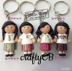 My chibi students keychain made by # cute Chibi, Polymer Clay, Students, Kawaii, Cute, Handmade, Crafts, Hand Made, Manualidades