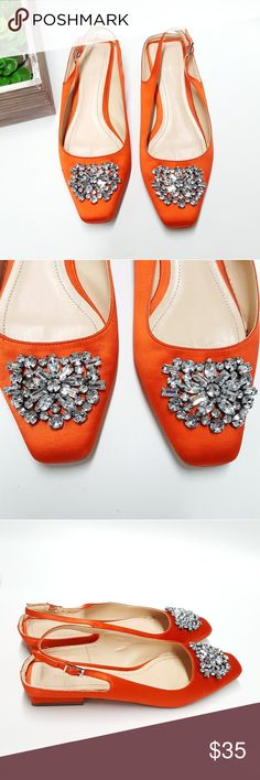 Zara Orange Flat Slingback Shoes w Beaded Detail Zara orange flat slingback shoes. Beaded detail on front with buckle detail on strap. size 38 100% polyester upper and lining sole 100% styrene butadiene rubber slipsole 90% goat leather spot clean Shoes Flats & Loafers