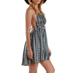 Strappy Printed Halter Dress: Charlotte Russe