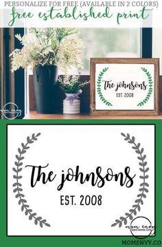 Farmhouse Inspired Established Print from Mom Envy. Completely customizable farmhouse style free printables. They're available in two colors. Fixer Upper style. Magnolia style. Established wreath. #freeprintables #freeprints #wallart #farmhousestyle