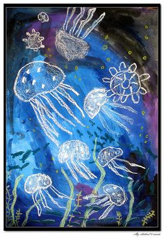 Use a white crayon to draw sea creatures, then use water coloured paints to paint over stop.