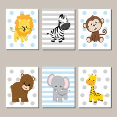JUNGLE Nursery Wall Art Jungle Animals Art ELEPHANT Giraffe Zebra Baby Boy Nursery Art Animals Baby Blue Nursery Set of 6 Prints Or Canvas - Choose Your Background & Colors!  ★Includes 6 pieces of wall art Available in PRINTS or CANVAS  ★SIZING OPTIONS Available from the drop down menu above the add to cart button with prices  ★PRINT OPTION Available sizes are 5x7, 8x10, & 11x14 (inches). Prints are created digitally and printed with UltraChrome Hi-Gloss ink on professional 68lb satin...