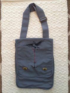 58a8e324d1ef Anchor Bird canvas satchel bag Grey by amydraws on Etsy Bird Canvas