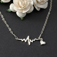 Grand Opening SALE - new shop 25% off - Sterling Silver EKG pendant and a heart charm on a sterling silver chain. Electrocardiogram, EKG Rhythm Heart Beat Necklace Gift