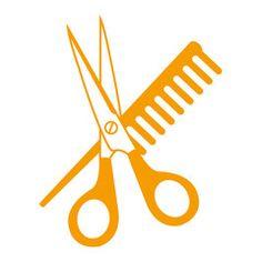 Icono plano tijeras y peine naranja