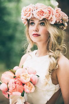 Flower Crown Hairstyle Flower Crown Hairstyles For Any Bride Mywedding Flower Crown Wedding, Wedding Hair Flowers, Bridal Flowers, Flowers In Hair, Flower Crowns, Crown Flower, Braid Flower, Wedding Gowns, Wedding Bouquets