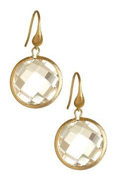 18K Clad Faceted Round Rock Crystal Dangle Earrings by Rivka Friedman on @HauteLook