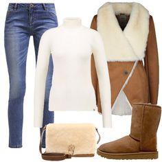 Outfit pensato per la donna sempre in movimento e particolarmente freddolosa. Jeans stretti accompagnati da Ugg originali e borsa in pelle di montone, con caldo rivestimento in lana. Per finire cappotto corto fintapelle color cognac.