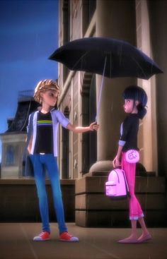 In the Rain. So beautiful! My favorite scene! Catnoir And Ladybug, Ladybug And Cat Noir, Les Miraculous, Adrien Miraculous, Miraculous Ladybug Wallpaper, Miraculous Ladybug Fan Art, Tikki Y Plagg, Doraemon Cartoon, Cartoon Boy