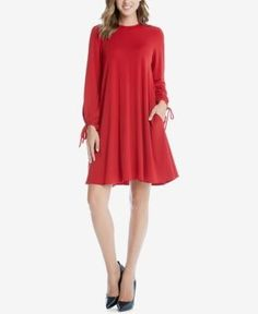 Karen Kane Tie-Sleeve Shift Dress - Red XS