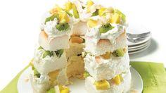 Gâteau des anges aux kiwis et à l'ananas