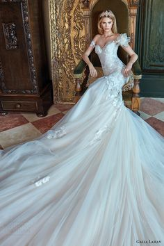 galia lahav bridal spring 2017 off shoulder sweetheart mermaid fit flare wedding dress (tony) mv long train