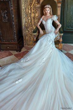 galia lahav bridal spring 2017 off shoulder sweetheart mermaid fit flare wedding dress (tony) mv long train