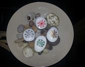 Set of four Hand painted stones - Christmas Snowflakes