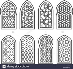 Stock Vector - Arabian window with ornament - grating decorated with arabesque pattern Islamic Art Pattern, Pattern Art, Arabian Pattern, Motif Arabesque, Jaali Design, Motif Oriental, Islamic Decor, Islamic Art Calligraphy, Islamic Architecture