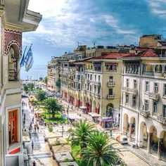 Aristotelous Ave. Thessaloniki Greece Amazing Destinations, Homeland, Places To Visit, Street View, Mansions, Greece Thessaloniki, Macedonia Greece, House Styles, City