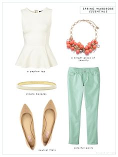 Cute! Like it if the top is long enough - I have one peplum top that's really short. Trendy Spring Polyvore Combinations