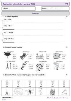 15 évaluations sur l'ensemble des compétences en géométrie et mesure en CM1.