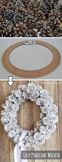 Simple DIY Pine Cone Wreath Craft Tutorial – Such a Simple DIY Fall or Christmas Decoration Idea! This simple project is super cheap and easy to implement. , Easy DIY Pinecone Wreath Craft Tutorial — such an easy DIY Fall… Continue Reading → Diy Craft Projects, Diy Projects For Adults, Easy Diy Crafts, Diy Crafts To Sell, Diy For Kids, Craft Ideas, Diy Ideas, Sell Diy, Crafts Cheap