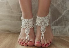 ivory beach shoes bridal sandals lariat sandals by ByVIVIENN