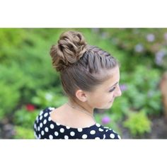 Double-French Messy Bun Updo ❤ liked on Polyvore featuring hair