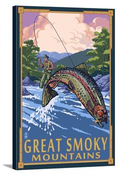 Canvas (Great Smoky Mountains National Park - Angler Fly Fishing Scene - Lantern Press Artwork)