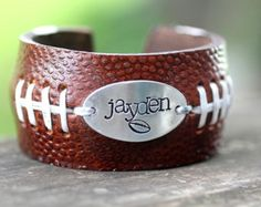 Items similar to FOOTBALL FANS Football Bracelet with Handstamp of jersey number or Name on Etsy Football Spirit, Football Cheer, Football And Basketball, Football Fans, Football Season, Baseball Teams, Football Stuff, Football Crafts, Football Parties