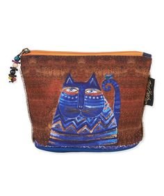 This Cobalt & Brown Feline Cosmetic Bag by Laurel Burch is perfect! #zulilyfinds
