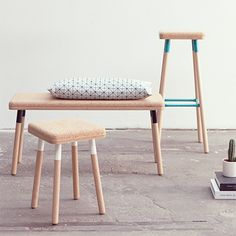 set of furniture made of #wood and #cork by Ubikubi