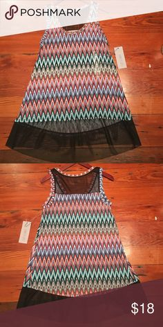 NWT Jennifer Lopez chevron top size xs Mesh hem tank. First picture is for reference. Top for sale is chevron print. Jennifer Lopez Tops Blouses