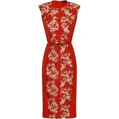 Little Mistress Orange Floral Panel Dress ($79) ❤ liked on Polyvore featuring dresses, orange, red dress, red floral print dress, floral sleeveless dress, floral pattern dress and reversible dress