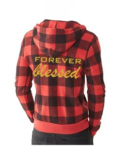 Buffalo Plaid Eco-Fleece ' FOREVER blessed ' Zip Hoodie at 1108 Boutique.  Red and Black Plaid Holiday Apparel.